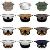 Ejemplo militar del vector de los sombreros stock de ilustración