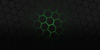 Ejemplo moderno agradable del fondo de los hexágonos negros y verdes Stock de ilustración