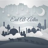 Ejemplo moderno de Art Islamic Eid Al-Adha Card del papel libre illustration