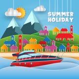 Ejemplo moderno de la tarjeta del día de fiesta de Art Yacht Surfing Adventure Summer del papel ilustración del vector
