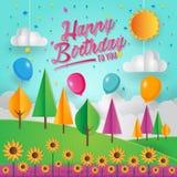 Ejemplo moderno de la tarjeta del feliz cumpleaños de la sol de la naturaleza del amor de Art Style Sunny Bright Day del papel ilustración del vector