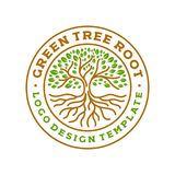 Ejemplo moderno del vector de la insignia del logotipo del círculo de raíces del árbol ilustración del vector