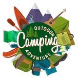 Ejemplo moderno del vector del diseño plano de acampar y de caminar el sistema del equipo Artículos del viaje y de las vacaciones Imágenes de archivo libres de regalías