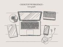 Ejemplo moderno del vintage del vector del lugar de trabajo Imagen de archivo libre de regalías