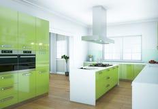 Ejemplo moderno verde del diseño interior de la cocina imágenes de archivo libres de regalías
