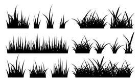 Ejemplo monocromático de la hierba Siluetas del vector libre illustration