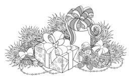 Ejemplo monocromático del Año Nuevo con los regalos y el árbol de navidad Fotografía de archivo libre de regalías
