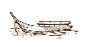 Ejemplo monocromático del vector del bosquejo del barco de fondo plano ligero de la góndola stock de ilustración