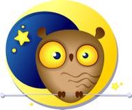 Ejemplo multicolor de un búho divertido lindo en el fondo Stock de ilustración
