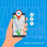Ejemplo móvil del vector del concepto de la navegación Mano que sostiene smartphone con el mapa de la ciudad de los gps en la pan Imágenes de archivo libres de regalías