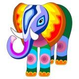 Ejemplo Naif multicolor del vector del estilo del remiendo del elefante stock de ilustración