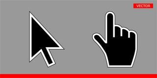 Ejemplo negro del vector de los iconos del cursor de la flecha y del cursor de la mano stock de ilustración