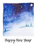Ejemplo nevoso del campo de la acuarela con la Feliz Año Nuevo matosa artística que pone letras debajo como en de la foto momentá libre illustration