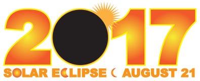 Ejemplo numérico del vector del texto del eclipse solar 2017 Imágenes de archivo libres de regalías