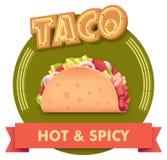 Ejemplo o etiqueta del taco del vector para el menú ilustración del vector