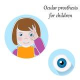 Ejemplo ocular pediátrico de las prótesis Ojos prostéticos, artificiales para los niños, muchacha con los fingeres alrededor del  Fotos de archivo libres de regalías