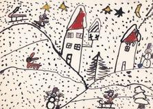 Ejemplo original del niño del paisaje del invierno (tinta en el papel) ilustración del vector