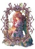 Ejemplo original del retrato de la fantasía de un duende femenino etéreo hermoso stock de ilustración