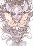 Ejemplo original del retrato de la fantasía de una hada femenina hermosa de la polilla stock de ilustración
