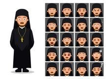 Ejemplo ortodoxo del vector de Cartoon Emotion Faces del sacerdote de la religión Imágenes de archivo libres de regalías