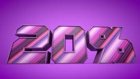ejemplo púrpura del texto 3d del 20% Imagenes de archivo