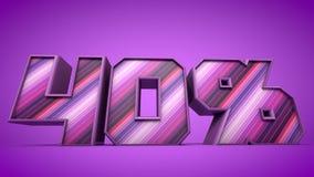 ejemplo púrpura del texto 3d del 40% Stock de ilustración