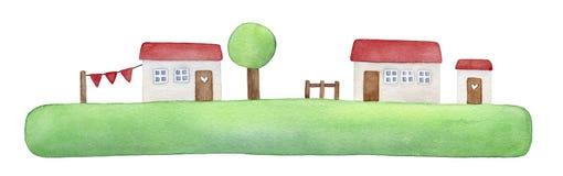 Ejemplo pacífico de la isla de la hierba verde, pequeñas casas blancas, tejado rojo, puertas de madera con los corazones del amor libre illustration
