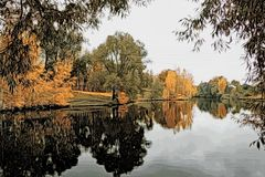 Ejemplo - paisaje del otoño con la reflexión en el agua de una charca libre illustration