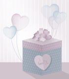 Ejemplo para el día de tarjeta del día de San Valentín con la caja de regalo realista y los globos transparentes en la forma de c ilustración del vector