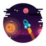 Ejemplo para el ` de la nave espacial del ` del día de la astronáutica ilustración del vector