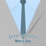 Ejemplo para el men& internacional x27; saludos del día de s en el fondo de un man& x27; traje de s Fotos de archivo libres de regalías