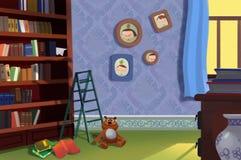 Ejemplo para los niños: La biblioteca/el cuarto de estudio libre illustration