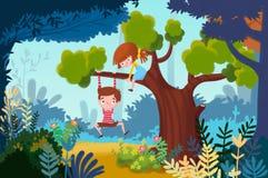 Ejemplo para los niños: Little Boy y la niña juegan para arriba en un árbol libre illustration