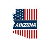 Ejemplo patriótico del mapa de Arizona Fotografía de archivo libre de regalías