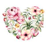 Ejemplo pintado a mano Corazón de la acuarela con la peonía, enredadera de campo, ramas, altramuz, planta de aire, fresa Foto de archivo libre de regalías
