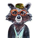 Ejemplo pintado a mano de la acuarela del mapache en blanco Imagenes de archivo