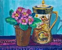 Ejemplo, pintura de un pote antiguo del café y prímulas Foto de archivo