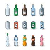 Ejemplo plástico de las latas de aluminio de las botellas de cristal Fotos de archivo