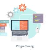 Ejemplo plano abstracto del vector de la codificación en software en software stock de ilustración