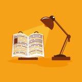 Ejemplo plano con la lámpara del libro Fotos de archivo libres de regalías