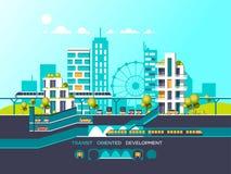 Ejemplo plano con paisaje de la ciudad Movilidad del transporte y ciudad elegante Fotografía de archivo libre de regalías