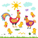 Ejemplo plano de la historieta de la familia de pájaros de la granja pollo de la gallina del gallo en el fondo blanco Foto de archivo libre de regalías