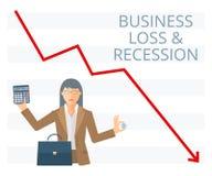 Ejemplo plano de la pérdida de negocio y del concepto del vector de la recesión Fotografía de archivo libre de regalías