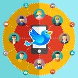 Ejemplo plano de la red social con los avatares Foto de archivo libre de regalías