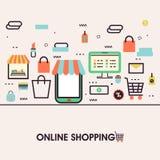 Ejemplo plano de las compras en línea en el teléfono móvil Imagen de archivo libre de regalías