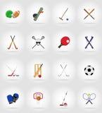 Ejemplo plano de los iconos del equipo de deporte Imagen de archivo libre de regalías