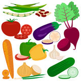 Ejemplo plano de los iconos del vector de las verduras Foto de archivo