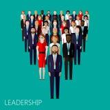 Ejemplo plano de un líder y de un equipo Una muchedumbre de hombres Fotos de archivo libres de regalías