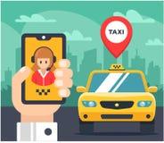 Ejemplo plano de una orden del taxi coche marcado con etiqueta ilustración del vector