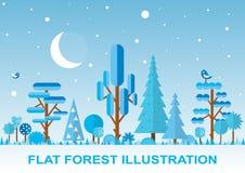Ejemplo plano del bosque del vector del invierno Fotografía de archivo libre de regalías